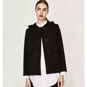 zara hooded faux fur trim swing coat
